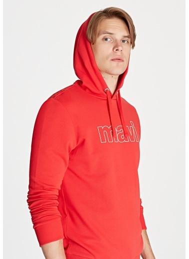 Mavi Kapüşonlu Sweatshirt Kırmızı
